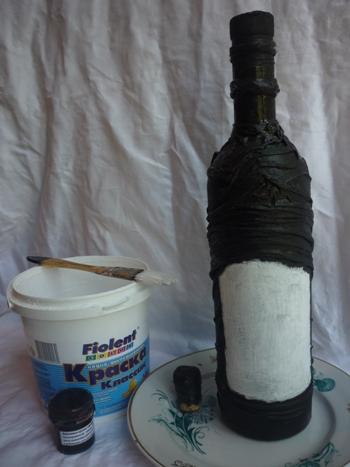 декупаж бутылки тканью