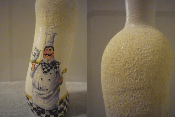 Декупаж с манной крупой на вазе