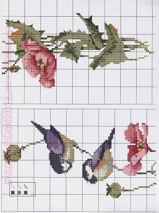 Схемы вышивки крестом цветы птицы