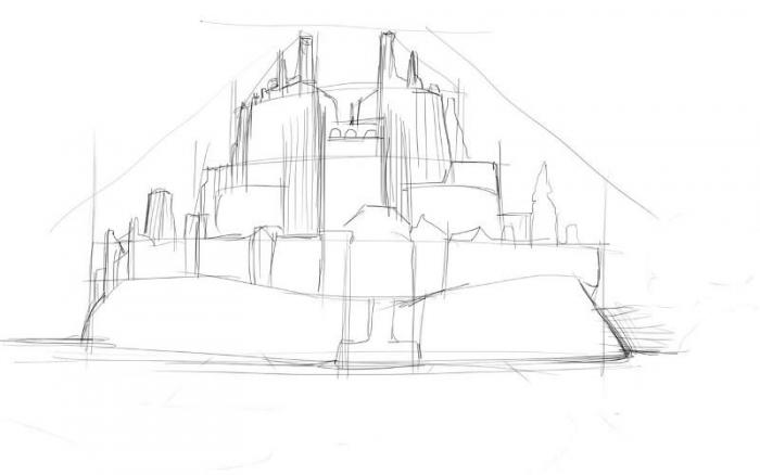 Рисование крепости поэтапно