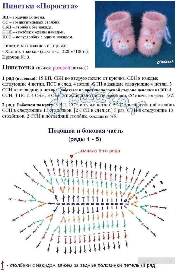 Пошаговая схема вязания пинеток крючком 98