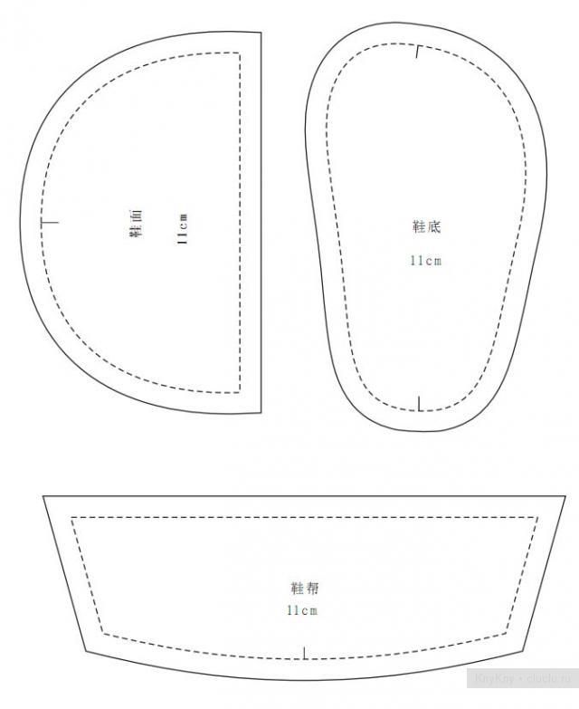 Выкройка туфельки пинетки своими руками