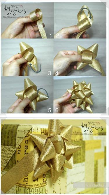 Сделать бант из ленты на подарок своими руками