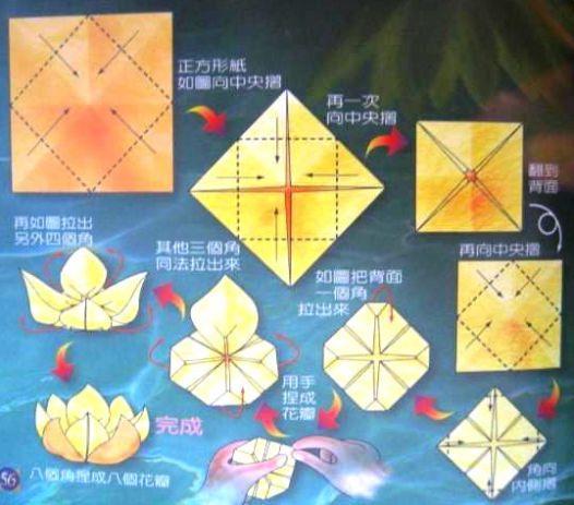 Лотос из оригами схема