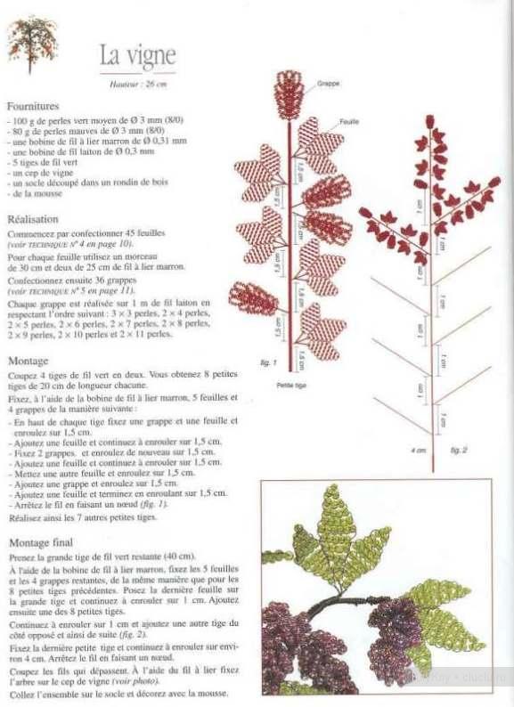 Виноград из бисера - схема бисероплетения