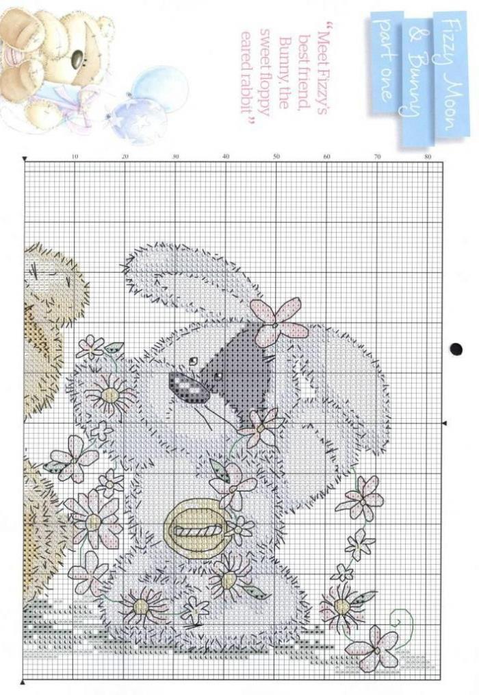 Схема вышивка крестом зайка 9