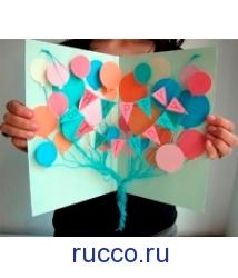 Объемная открытка с шариками с днем рождения 36